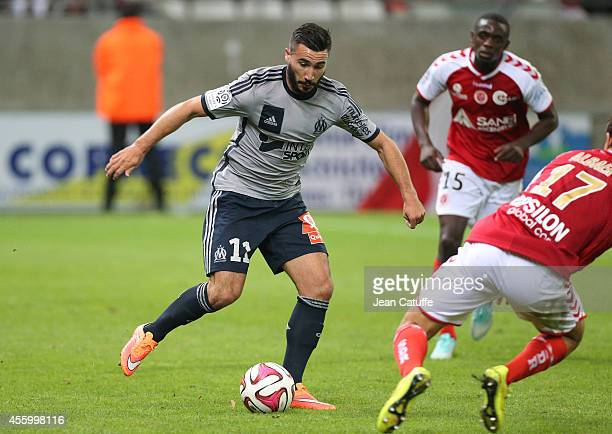 Romain Alessandrini of OM in action during the French Ligue 1 match between Stade de Reims and Olympique de Marseille OM at the Stade Auguste Delaune...