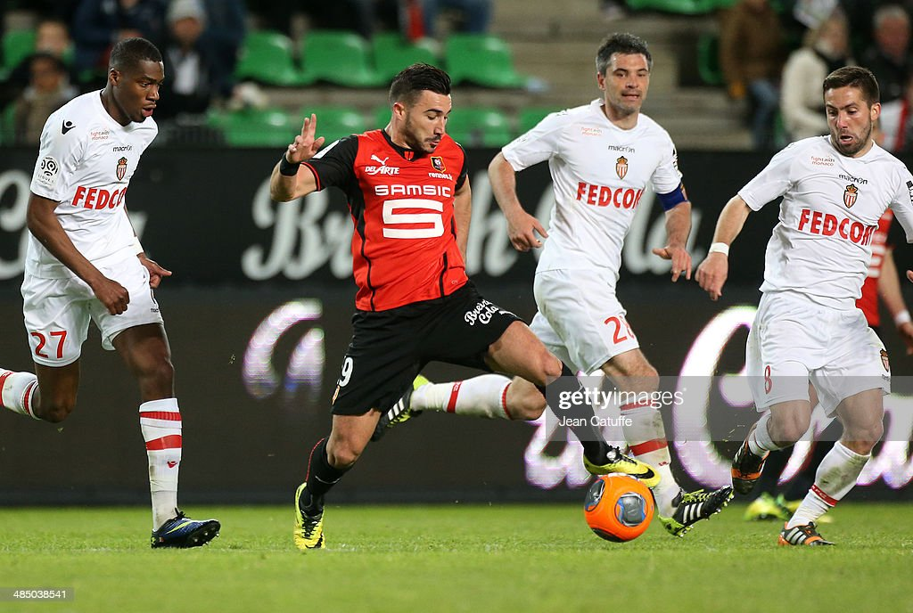 <a gi-track='captionPersonalityLinkClicked' href=/galleries/search?phrase=Romain+Alessandrini&family=editorial&specificpeople=9572619 ng-click='$event.stopPropagation()'>Romain Alessandrini</a> of Rennes in action during the French Ligue 1 match between Stade Rennais FC and AS Monaco FC at Stade de la Route de Lorient on April 12, 2014 in Rennes, France.