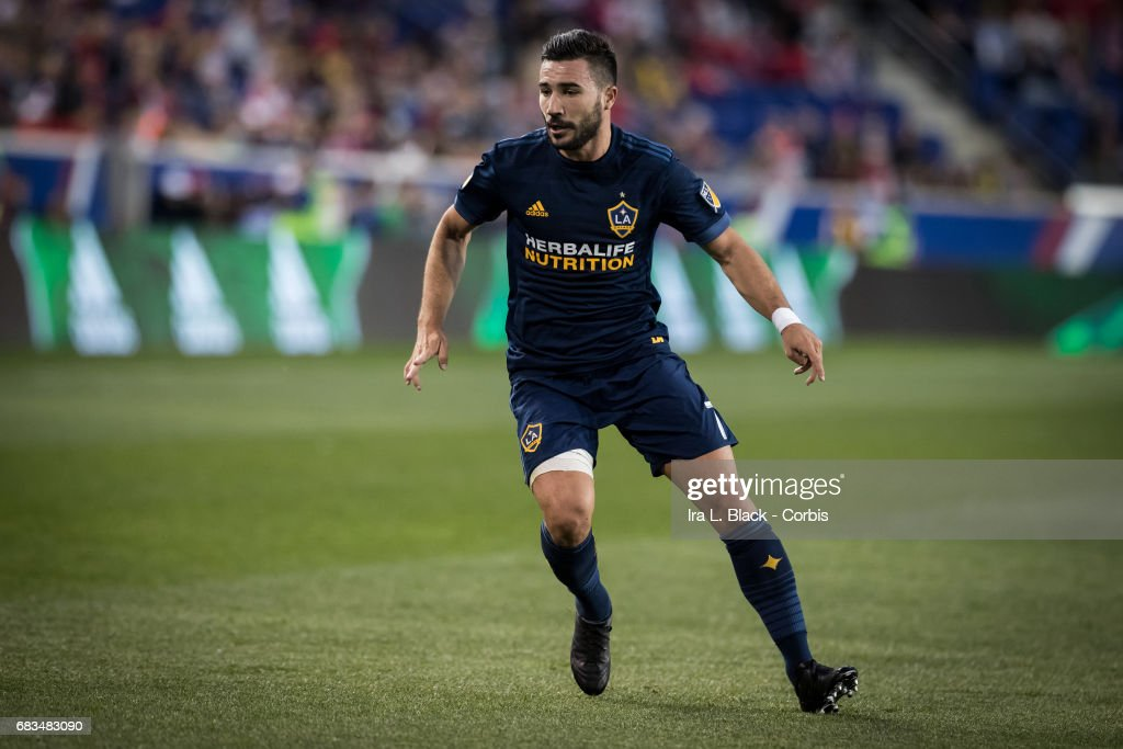 Romain Alessandrini #7 of the LA Galaxy goes toward the ball during the MLS match between LA Galaxy vs New York Red Bulls at Red Bull Arena on May 14, 2017 in Harrison, NJ. The LA Galaxy won the match with the score of 3 to 1.