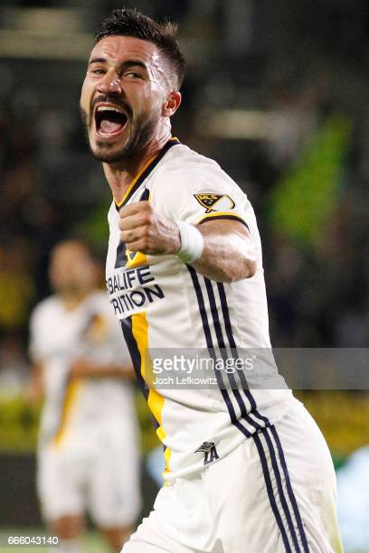 Romain Alessandrini of the Los Angeles Galaxy reacts after teammate Jermaine Jones scores during the Los Angeles Galaxy's MLS match against Montreal...