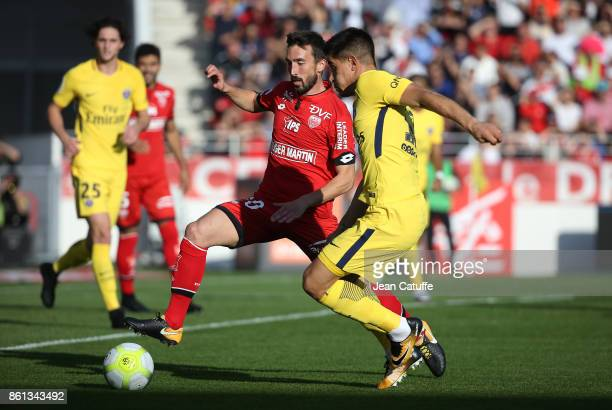 Romain Amalfitano of Dijon Yuri Berchiche of PSG during the French Ligue 1 match between Dijon FCO and Paris Saint Germain at Stade Gaston Gerard on...