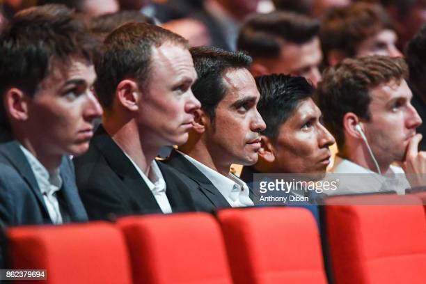 Romain Bardet Christopher Froome Alberto Contador Nairo Quintana Simon Yates and Mark Cavendish during the presentation of the Tour de France 2018 at...