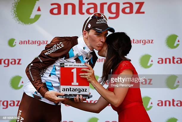 Romain Bardet of France and AG2R La Mondial Team celebrates on the podium after winning Stage Eighteen of the 2015 Tour de France a 1865km stage...