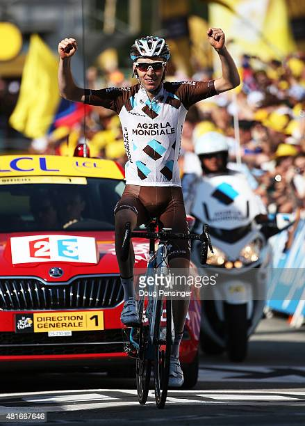 Romain Bardet of France and AG2R La Mondial Team crosses the finish line to win Stage Eighteen of the 2015 Tour de France a 1865km stage between Gap...