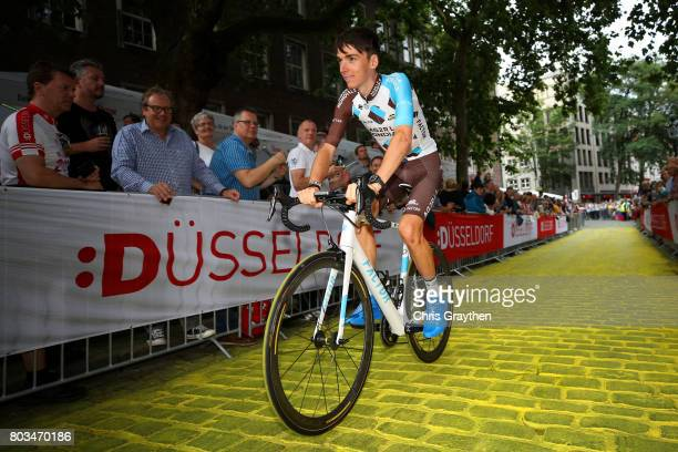 Romain Bardet of France and AG2R La Mondial Team rides during the team presentation for the 2017 Le Tour de France on June 29 2017 in Duesseldorf...