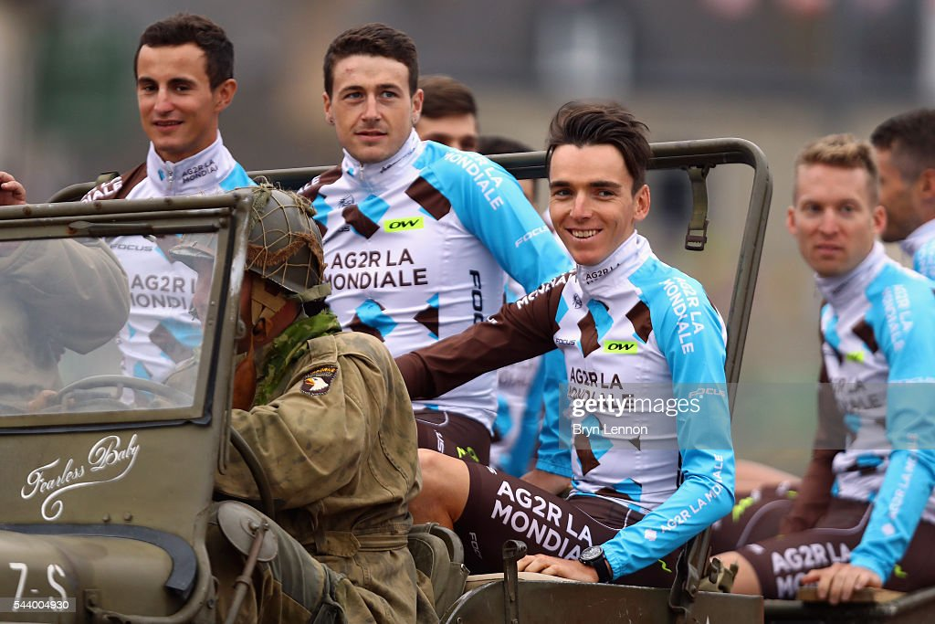 <a gi-track='captionPersonalityLinkClicked' href=/galleries/search?phrase=Romain+Bardet&family=editorial&specificpeople=9403009 ng-click='$event.stopPropagation()'>Romain Bardet</a> of France and AG2R La Mondiale attends the Team Presentation ahead of the 2016 Tour de France at on June 30, 2016 in Sainte-Mere-Eglise, France.