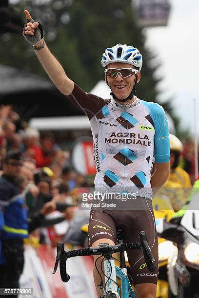 Romain Bardet of France and AG2R La Mondiale celebrates stage victory during the 17km Individual Time Trial stage eighteen of Le Tour de France from...