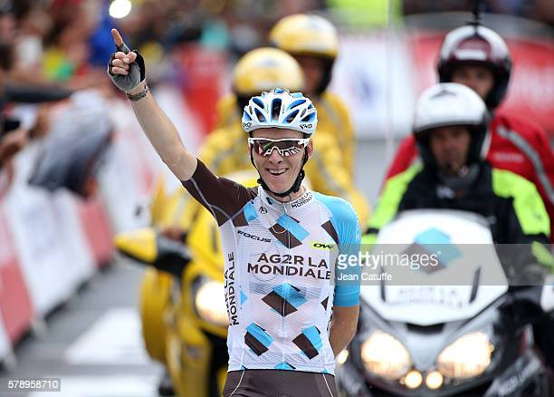 Romain Bardet of France and AG2R La Mondiale celebrates winning stage 19 of the Tour de France 2016 a stage between Albertville and Saint Gervais...