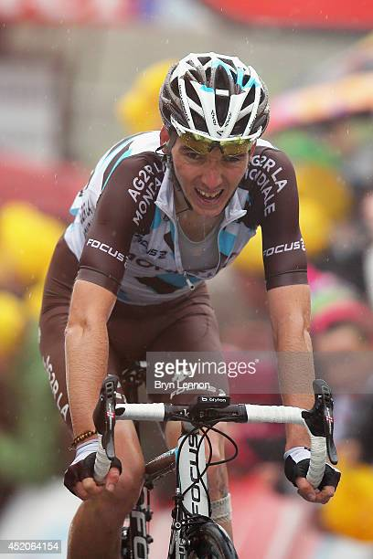 Romain Bardet of France and AG2R La Mondiale crosses the finish line during the eighth stage of the 2014 Tour de France a 161km stage between...