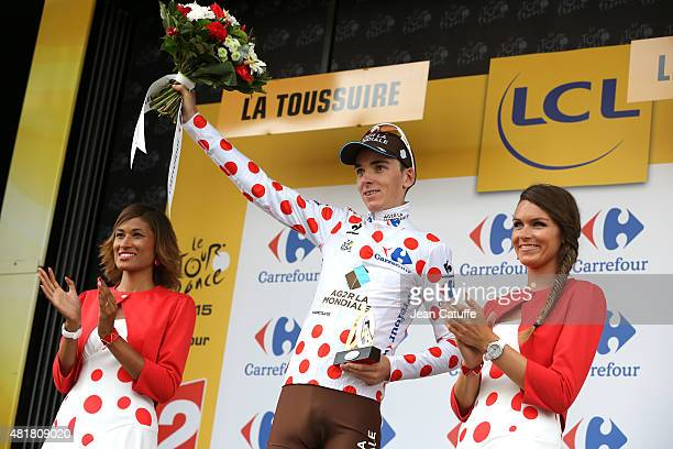 Romain Bardet of France and AG2R La Mondiale wears the polka dot jersey of best climber following stage nineteenth of the 2015 Tour de France a 138...