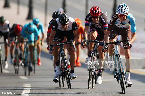 Romain Bardet of France and AG2RLa Mondiale leads Tom Dumoulin of the Netherlands and Team GiantAlpecin and Edvald Boasson Hagen of Norway and...