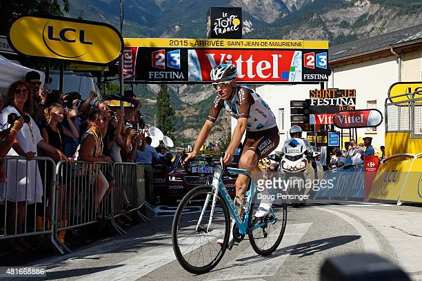 Romain Bardet of France riding for Ag2r La Mondiale arrives at the finish to claim victory in stage 18 of the 2015 Tour de France from Gap to...