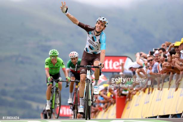 Romain Bardet of France riding for AG2R La Mondiale celebrates as he wins stage 12 of the 2017 Le Tour de France a 2145km stage from Pau to...