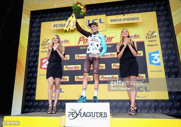 Romain Bardet of France riding for AG2R La Mondiale celebrates his stage win after stage 12 of the Le Tour de France 2017 a 2145km stage from Pau to...