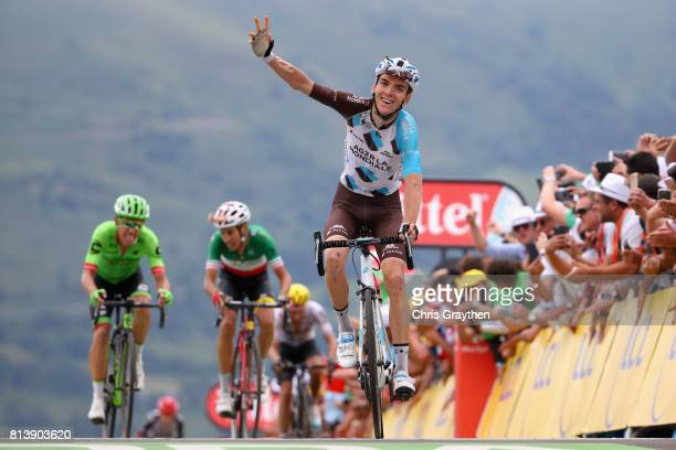Romain Bardet of France riding for AG2R La Mondiale celebrates crossing the line during stage 12 of the Le Tour de France 2017 a 2145km stage from...