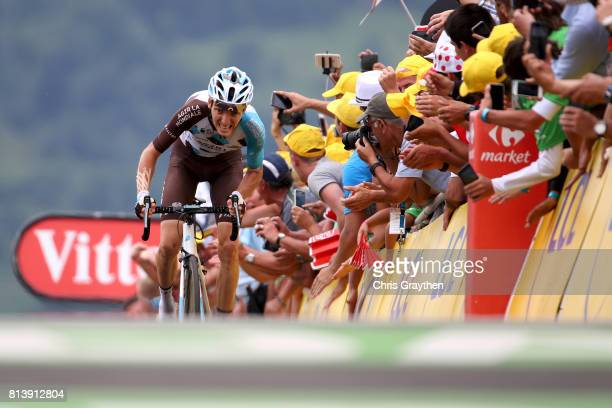 Romain Bardet of France riding for AG2R La Mondiale races to the finish during stage 12 of the 2017 Le Tour de France a 2145km stage from Pau to...