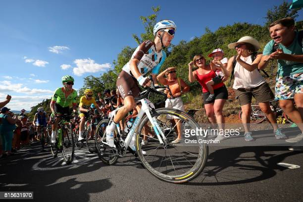 Romain Bardet of France riding for AG2R La Mondiale rides in the peloton during stage 15 of the 2017 Le Tour de France a 1895km stage from...