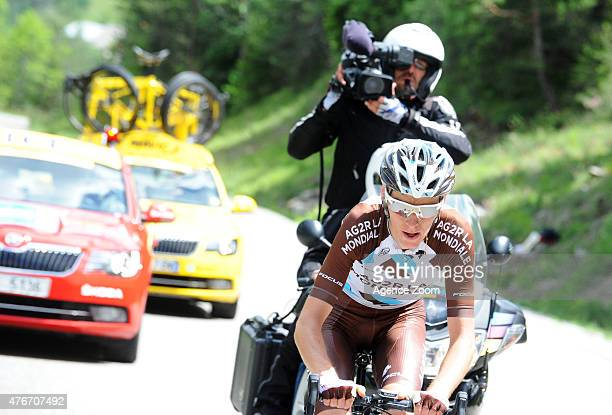 Romain Bardet of Team AG2R LA MONDIALE takes 1st place during Stage Five of the Criterium du Dauphine on June 11 2015 in Dignes Les Bains France