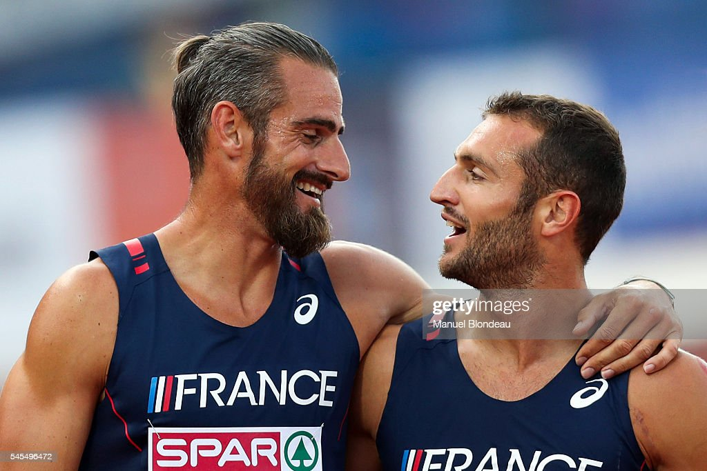 Romain Barras of France and Florian Geffrouais of France celebrate at the end of the Decathlon during the European Athletics Championships at Olympic Stadium on July 8, 2016 in Amsterdam, Netherlands.