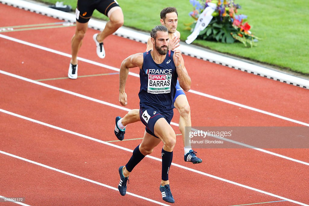 Romain Barras of France in action during the decathlon 400m during the European Athletics Championships at Olympic Stadium on July 6, 2016 in Amsterdam, Netherlands.