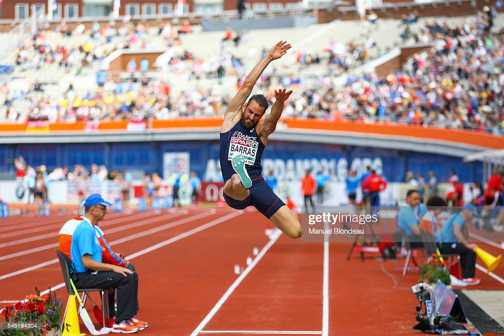 Romain Barras of France in action during the Decathlon Long Jump during the European Athletics Championships at Olympic Stadium on July 6, 2016 in Amsterdam, Netherlands.