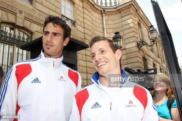 Romain BARRAS / Renaud LAVILLENIE Equipe de France d'Athletisme recue a l'Elysee Les medailles recus a l'Elysee Paris