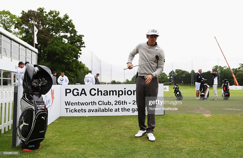 Romain Bechu plays a trick shot during the Pro-Am prior to the BMW PGA Championship at Wentworth on May 25, 2016 in Virginia Water, England.