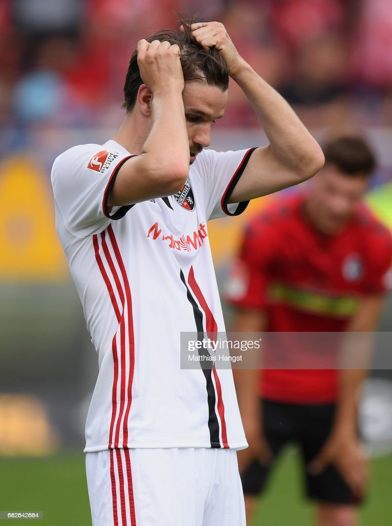 Romain Bregerie of Ingolstadt shows his disappointment after the Bundesliga match between SC Freiburg and FC Ingolstadt 04 at Schwarzwald-Stadion on May 13, 2017 in Freiburg im Breisgau, Germany.