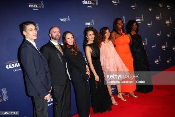 Romain Compingt a guest Oulaya Amamra Houda Benyamina Deborah Lukumuena and Jisca Kalvanda arrive at the Cesar Film Awards 2017 ceremony at Salle...