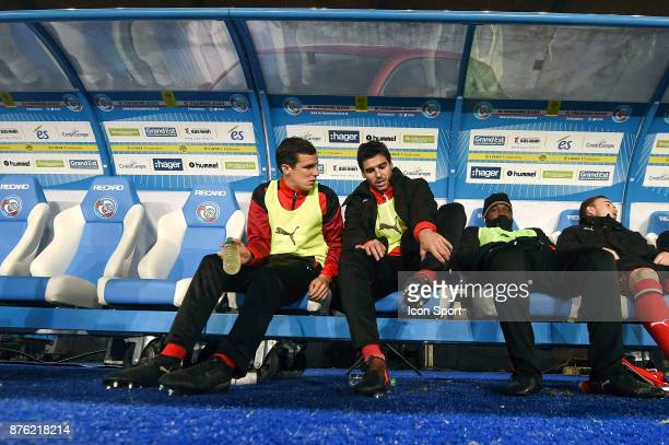 Romain Danze and Yoann Gourcuff of Rennes during the Ligue 1 match between Strasbourg and Rennes at Stade de la Meinau on November 18 2017 in...