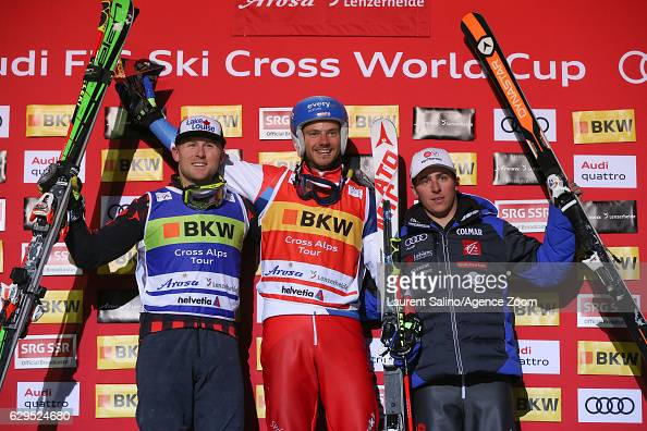Romain Detraz of Switzerland takes 1st place Brady Leman of Canada takes 2nd place Jean Frederic Chapuis of France takes 3rd place during the FIS...