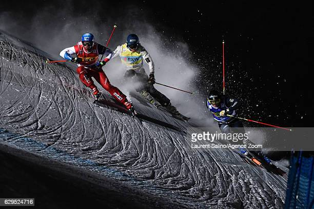 Romain Detraz of Switzerland takes 1st place during the FIS Freestyle Ski World Cup Men's and Women's Ski Cross on December 13 2016 in Arosa...