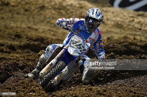Romain Febvre of France with Yamaha bike competes during the MXGP on March 8 2015 in Bangkok Thailand