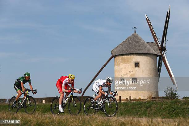Romain Feillu of France and Team BretagneSeche Environnemen Fra leads from Julien Fouchard of France and Team Cofidis Solutions Credits and Perrig...