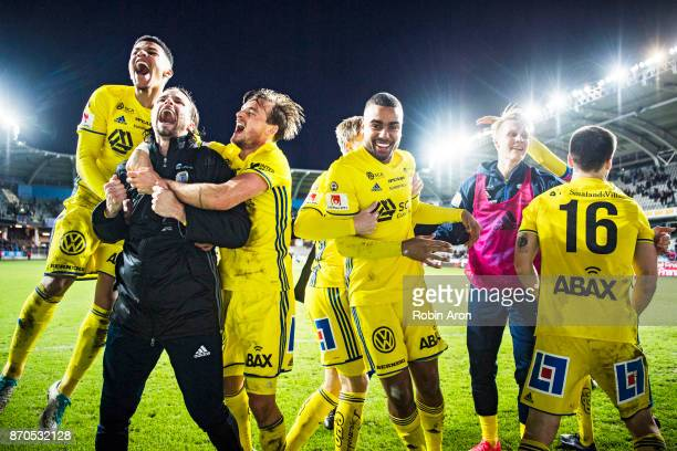Romain Gall Linus Hallenius Eric Larsson Noah Sonko Sundberg and players of GIF Sundsvall celebrates after the victory in the Allsvenskan match...