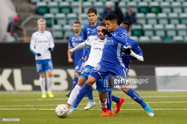 Romain Gall of GIF Sundsvall and Alexander Jakobsen of IFK Norrkoping during the Allsvenskan match between GIF Sundsvall and IFK Norrkoping at...