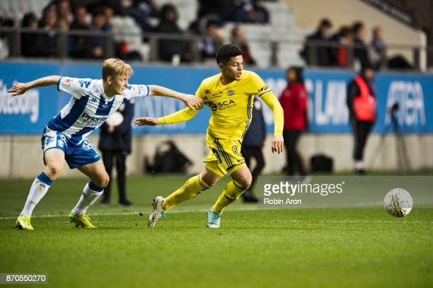 Romain Gall of GIF Sundsvall and David Boo Wiklander of IFK Goteborg battles for the ball during the Allsvenskan match between IFK Goteborg and GIF...