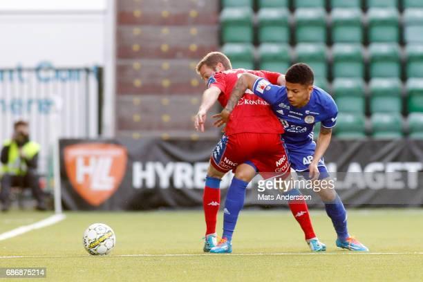 Romain Gall of GIF Sundsvall and Emil Salomonsson of IFK Goteborg during the Allsvenskan match between GIF Sundsvall and IFK Goteborg at...