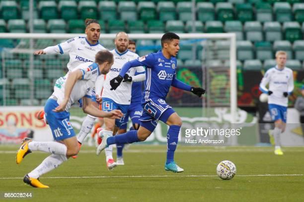 Romain Gall of GIF Sundsvall and Jon Gudni Fjoluson of IFK Norrkoping during the Allsvenskan match between GIF Sundsvall and IFK Norrkoping at...