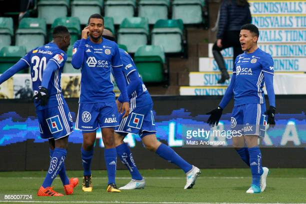Romain Gall of GIF Sundsvall celebrates after scoring during the Allsvenskan match between GIF Sundsvall and IFK Norrkoping at Idrottsparken on...