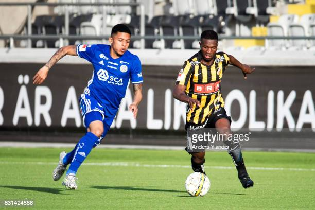 Romain Gall of GIF Sundsvall competes for the ball with Mohammed Abubakari of BK Hacken during the Allsvenskan match between BK Hacken and GIF...