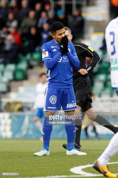 Romain Gall of GIF Sundsvall dejected during the Allsvenskan match between GIF Sundsvall and IFK Norrkoping at Idrottsparken on October 22 2017 in...