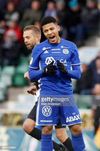 Romain Gall of GIF Sundsvall during the Allsvenskan match between GIF Sundsvall and IFK Norrkoping at Idrottsparken on October 22 2017 in Sundsvall...