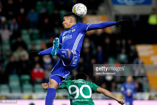 Romain Gall of Hammarby IF and Jiloan Hamad of Hammarby IF during the Allsvenskan match between GIF Sundsvall and Hammarby IF at Norrporten Arena on...