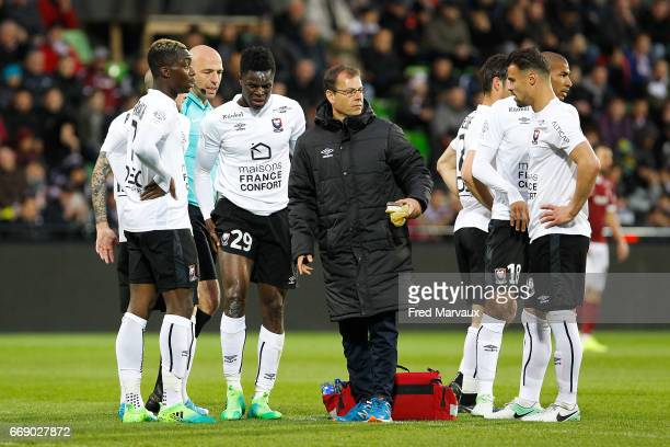 Romain Genevois of Caen during the Ligue 1 match between Fc Metz and SM Caen at Stade SaintSymphorien on April 15 2017 in Metz France
