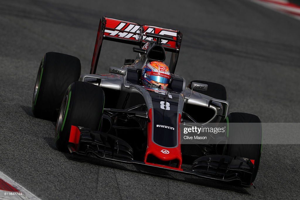 <a gi-track='captionPersonalityLinkClicked' href=/galleries/search?phrase=Romain+Grosjean&family=editorial&specificpeople=4858519 ng-click='$event.stopPropagation()'>Romain Grosjean</a> of France and Haas F1 drives during day one of F1 winter testing at Circuit de Catalunya on February 22, 2016 in Montmelo, Spain.