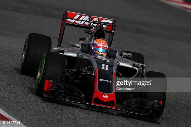 Romain Grosjean of France and Haas F1 drives during day one of F1 winter testing at Circuit de Catalunya on February 22 2016 in Montmelo Spain