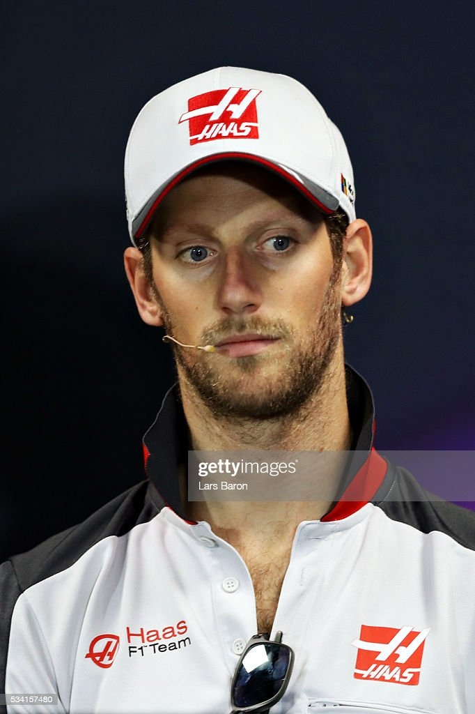 <a gi-track='captionPersonalityLinkClicked' href=/galleries/search?phrase=Romain+Grosjean&family=editorial&specificpeople=4858519 ng-click='$event.stopPropagation()'>Romain Grosjean</a> of France and Haas F1 in the Drivers Press Conference during previews to the Monaco Formula One Grand Prix at Circuit de Monaco on May 25, 2016 in Monte-Carlo, Monaco.