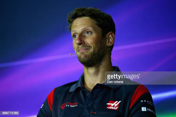 Romain Grosjean of France and Haas F1 in the Drivers Press Conference during previews ahead of the European Formula One Grand Prix at Baku City...