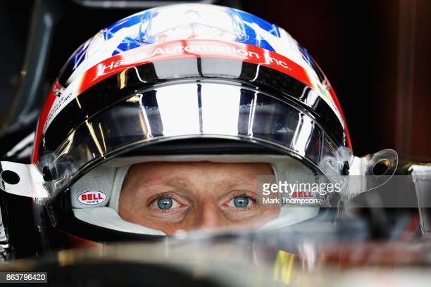 Romain Grosjean of France and Haas F1 prepares to drive in the garage during practice for the United States Formula One Grand Prix at Circuit of The...